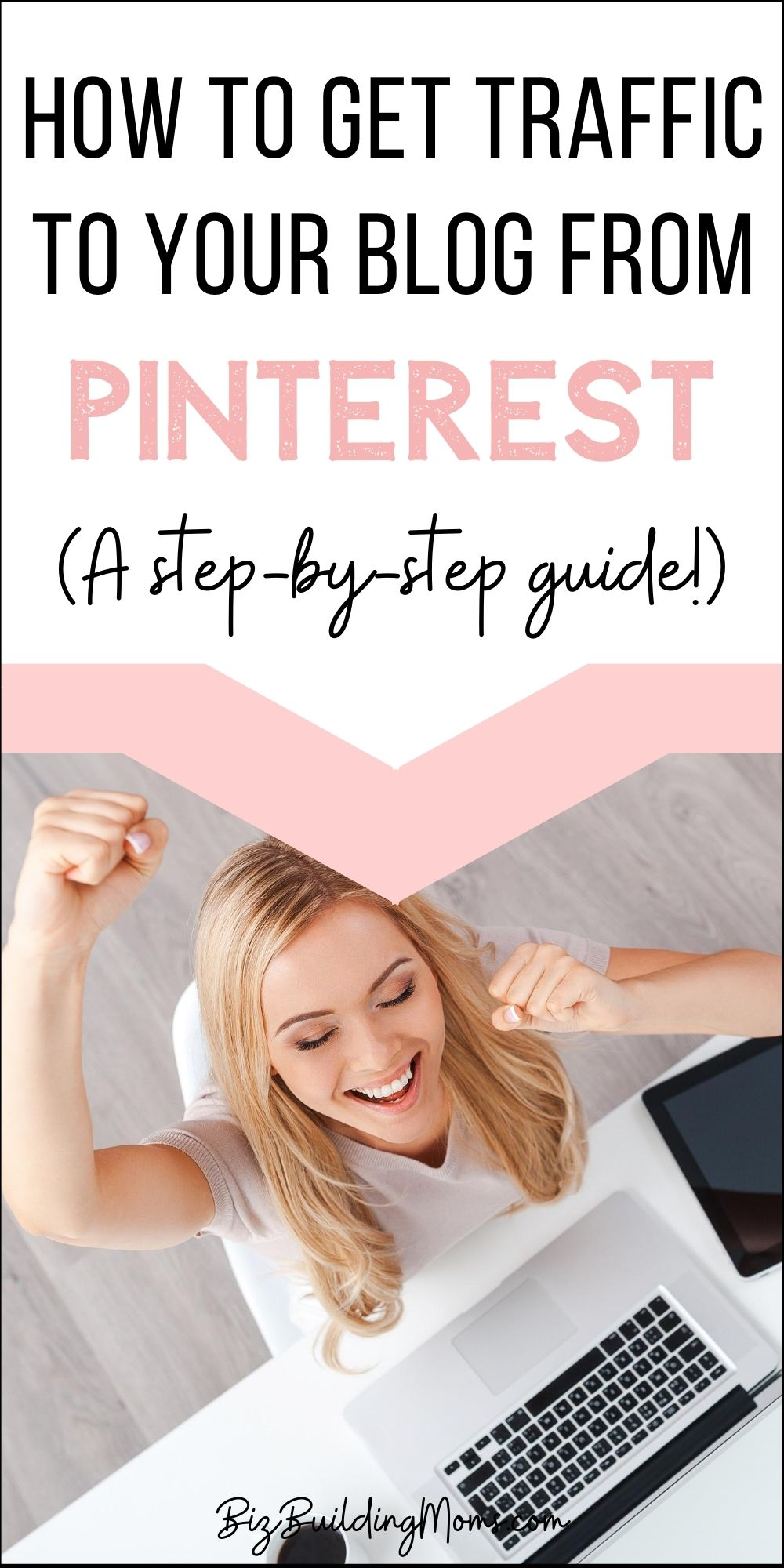 pin image of excited woman at her computer