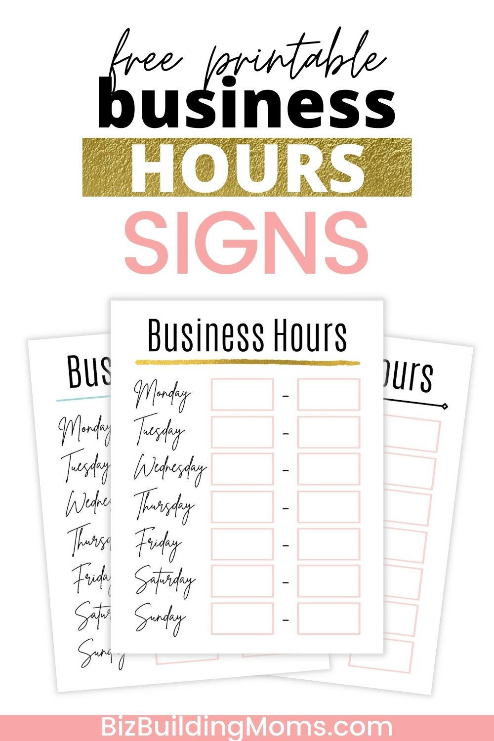 business hours signs with title - Pinterest image