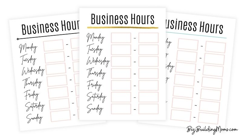 3 variations of a business hours sign with light pink accents