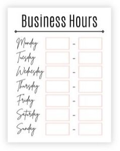 Business hours sign with black and pink accents