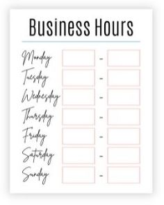 Business hours sign with teal and light pink accents