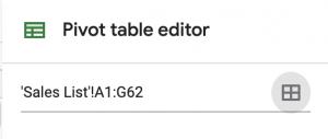 Google Sheets pivot table screen shot of source info button