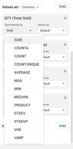 Pivot Table Google Sheets screen shot for adding values