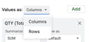 Pivot Table Google Sheets screen shot for value format