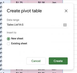 Screen shot of pivot table creation menu